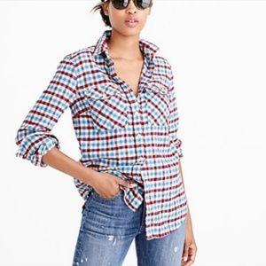 J.Crew Boyfriend Flannel Plaid Shirt Crimson Petal